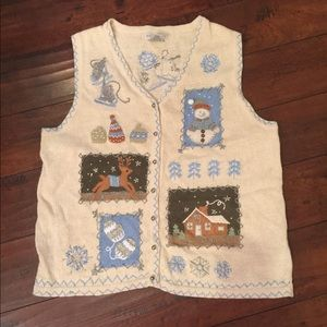 Vintage Holiday Ugly Christmas Sweater Vest XL